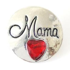 20MM Mama snap Antique Silver Plated with red  rhinestone KB8227 snaps jewelry