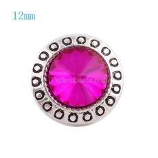 12MM Round snap Silver Plated with rose rhinestone KS6043-S snaps jewelry