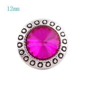 12MM Broche redondo plateado con diamantes de imitación rosa KS6043-S broches de joyería