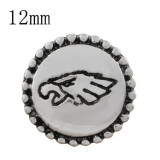 12MM Team snap KS8076-S chapado en plata joyería de broches