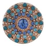 20MM redondo chapado en oro rosa con diamantes de imitación azules KC7600 broches de joyería