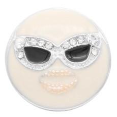 20MM Broche de cara sonriente Plateado con diamantes de imitación blancos y esmalte KC7917 broches de joyería