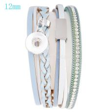 Partnerbeads 20cm 1 snap button real leather bracelets fit 12mm snaps with light blue leather and charm KS0613-S