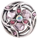 20MM design snap Antique Silver Plated with pink Rhinestone KC8693
