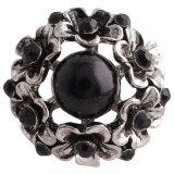 Broche de flores 20MM Plateado plata antigua con diamantes de imitación negros y perlas KC7332 broches de joyería