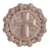 20MM cross snap Rose-Gold Plated with white rhinestone KC5628 snaps jewelry