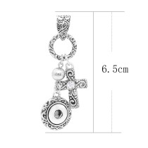 Cross snap sliver Pendant with rhinestones fit 12MM snaps style jewelry KS0364-S