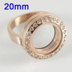 ANILLO de acero inoxidable Mix 6-10 # tamaño con medallón de encanto flotante Dia 20mm color dorado