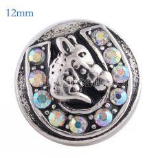 12MM snap de caballo Chapado en plata antigua con coloridos diamantes de imitación KS6099-S broches de joyería