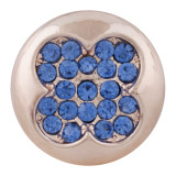 20MM snap rose gold Plated with blue rhinestone KC7633 snap jewelry