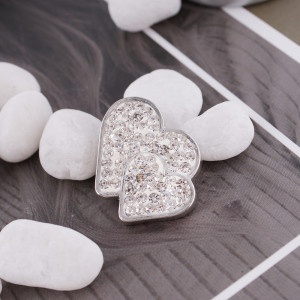 20mm valentine loveheart snaps  with white rhinestone KC4017 snap jewelry