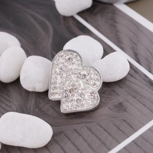 20mm valentine loveheart s'enclenche avec strass blanc KC4017 snap bijoux