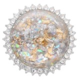 25MM Ручная работа Толстый глянцевый круглый белый янтарный каучук Серебро с покрытием со стразами KC7947 защелкивается ювелирные изделия