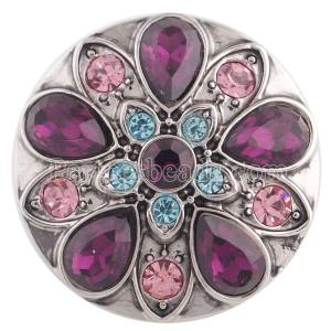20MM design snap silver Antique plated with purple rhinestone KC5356 snaps jewelry