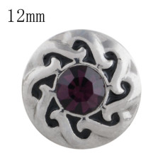 12MM design snap with Dark purple Rhinestone KS5195-S interchangeable snaps jewelry