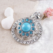 20MM Gear snap Antique Silver Plated with light blue  rhinestone KB8118 snaps jewelry
