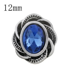12MM design snap sliver plated with blue Rhinestone KS6293-S snaps jewelry