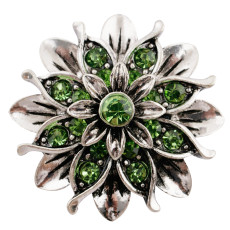 20MM Flower snap silver Plated with green Rhinestones KC7660 snaps jewerly