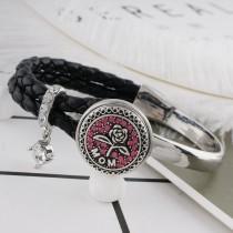 20MM mère snap ruban plaqué avec strass rose KC6491 s'enclenche bijoux