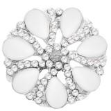 20MM bouton pression de fleurs Argenté avec strass blanc KC7877 s'encliquette bijoux
