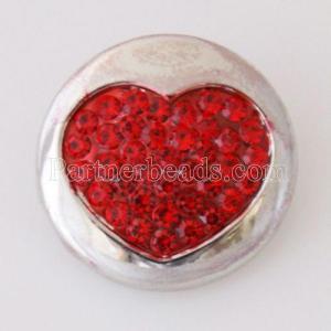 20MMバレンタインラブハートスナップアンティークシルバーメッキ赤ラインストーンKB5064スナップジュエリー