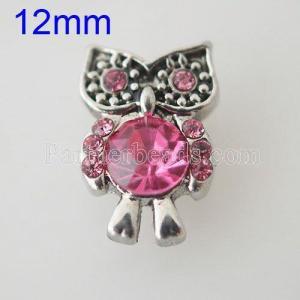 12MM Owl snap Plateado de plata antigua con diamantes de imitación KB1533-S broches de joyería