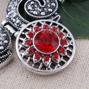 20MM round snap Antique Silver Plated with red Rhinestone  KC8684