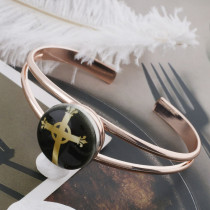 20MM cross Painted enamel metal C5121 print snaps jewelry