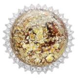 25MM Hecho a mano Grueso brillante redondo Ámbar complemento Plateado con Diamante de imitación KC7962 amarillo