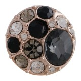 20MM broche redondo chapado en oro rosa con diamantes de imitación negros KC5636 broches de joyería