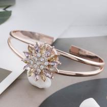 20MM design snap plaqué or rose avec strass violet KC7575 snaps bijoux