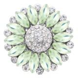 20MM цветок оснастки посеребренная с зеленым стразами KC7872 оснастки ювелирные изделия