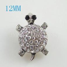 12MM Tortoise snap Antique Silver Plated avec strass KB8525-S s'enclenche bijoux