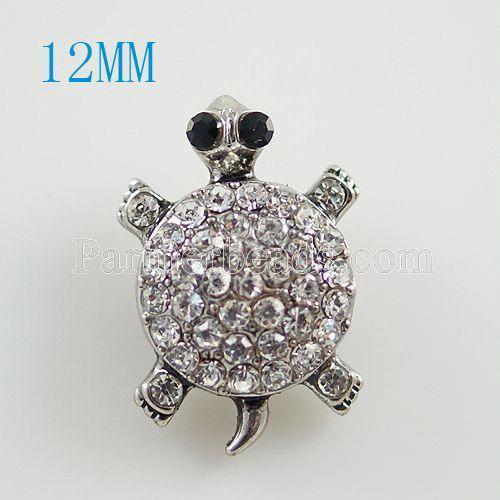 Broche de tortuga 12MM Plateado plata antigua con diamantes de imitación KB8525-S broches de joyería