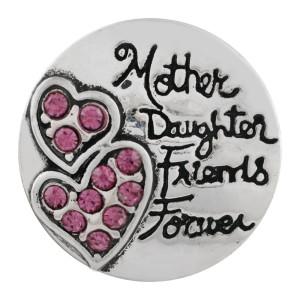 Astilla de corazón 20MM plateada con diamantes de imitación rosa KC6509 broches de joyería