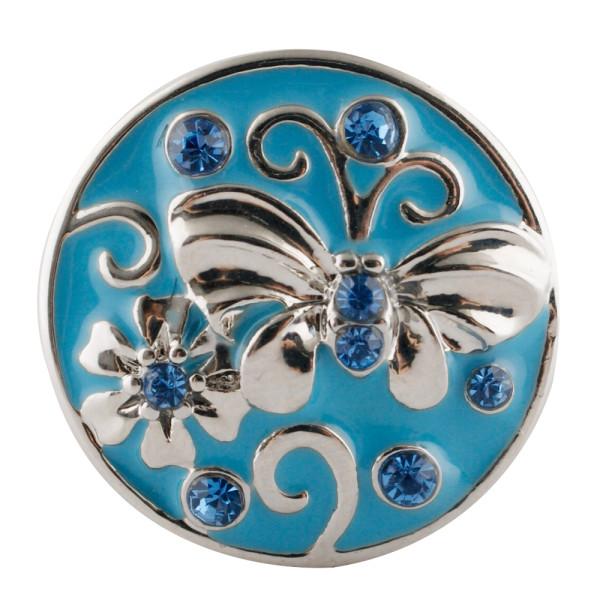 20MM Butterfly Snap Versilbert mit blauen Strasssteinen und Emaille. KC7680 Snaps