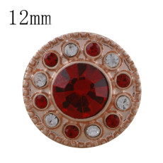 12MM round Rose Gold Plated with red rhinestone KS5230-S snaps jewelry