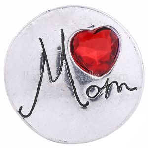 20MM Mom Snap Versilbert mit rotem Strass KC6140 Snaps Schmuck