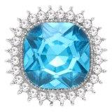 Diseño 20MM chapado en plata con diamantes de imitación azul KC6773 broches de joyería