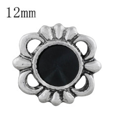 12MM design snap sliver plated with black Rhinestone KS6304-S snaps jewelry
