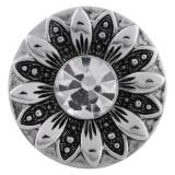 20MM broche de flores plateado con diamantes de imitación blancos KC5569 broches de joyería