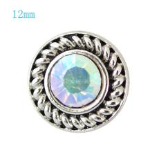 12MM Round snap Antique Silver Plated with colorful rhinestone KB7242-S snaps jewelry