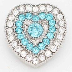 20MM snap Love sliver Plaqué de strass KC6728 bleu clair