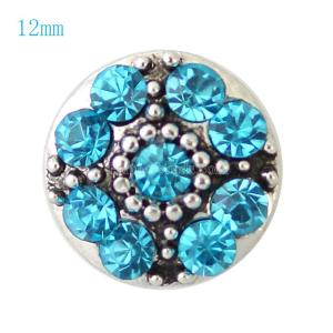12MM Flower snap Silver Plated with light blue rhinestones KB7259-S snaps jewelry