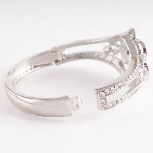 Pulseras de metal con botones 1 de Partnerbeads con diamantes de imitación en forma de broches KC0623