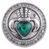 20MM snap Crown KC5085 avec bijoux vert strass interchangeables