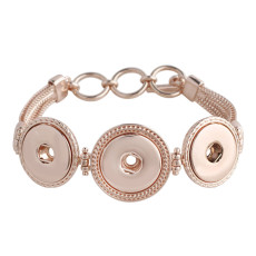 23CM 3 buttons snaps Rose Gold Bracelets KC0756 fit 20MM snaps chunks