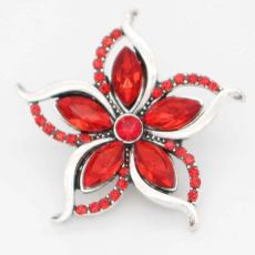 20MM design snap sliver Plated with red rhinestones KC6712 snaps jewelry