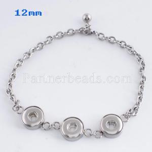 25CM 3 buttons snaps Stainless steel Bracelets KS0702-S fit 12MM snaps chunks