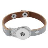 1-Knöpfe grau Armbänder vom Typ KC0273 aus echtem Leder passen zu 20MM-Druckknöpfen